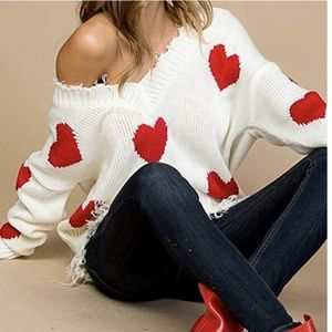 MINNIE Distressed Heart Print Pullover Sweater